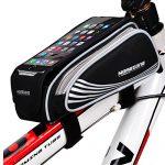 """MOREZONE Handys Fahrradtasche Fahrrad Rahmentasche Großes Volumen Fahrradrahmentasche für Smartphone mit Größe unten 5.5 """" Schwarz, 5.5"""""""