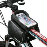 Fahrradtasche Rahmentaschen, MOREZONE Frarradschnalletasche mit zwei Fäche, geeignet für Handy mit Größe unten 6,0″, Farhradlenkertasche Black