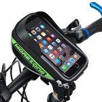 Fahrradtasche Rahmentaschen, MOREZONE Fahrradschnalletasche mit zwei Fächern, geeignet für Handy mit Größe unten 5,5″, Fahrradlenkertasche