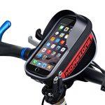 MOREZONE Farhradlenkertasche Telefonhalter Handy Fahrradtasche Smartphone Lenker Lenkertaschen mit Größe unten 5.5 inch Rot
