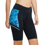 Baleaf Damen Kurze Radlerhose Radunterhose mit 3D Sitzpolster Fahrrad Shorts UPF 50+ Blau Geometrie Größe XL