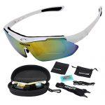 MOREZONE Radbrille, Polarisierte Radbrillen zum Ski Hiking Outdoor-Sport Brillen mit 5 wechselbaren Linsen, UV-Beständig Fahrrad Radbrillen Fahrradbrille Weiß Brillenrahmen