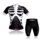 Lixada Herren Radtrikot Set, Atmungsaktiv Quick-Dry Kurzarm Radsport-Shirt + Gel Gepolsterte Shorts, Schwarz&Weiß, S
