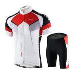 Lixada Herren Radtrikot Set Fahrrad Kurzarm Set Schnelltrocknend Atmungsaktives Shirt + 3D Cushion Shorts Gepolsterte Hose