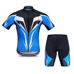 Lixada Herren Radtrikot Set, Atmungsaktiv Quick-Dry Kurzarm Radsport-Shirt + Gel Gepolsterte Shorts, Blau, XL
