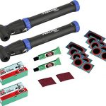 2er Pack Fischer Mini-pumpe Doppelhub reversibel und 2 Packungen Flickzeug