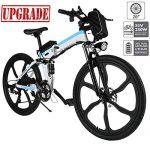 Hiriyt Faltbares E-Bike,36V 250W Elektrofahrräder, 12.8A Lithium Batterie Mountainbike,26 Zoll Große Kapazität Pedelec mit Lithium-Akku und Ladegerät Weiß Blau