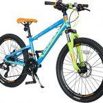 KRON XC-100 Hardtail Aluminium Kinder Mountainbike 24 Zoll ab 9-14 Jahre   21 Gang Shimano Kettenschaltung mit Scheibenbremse   Kinderfahrrad 13 Zoll Rahmen Blau Grün Orange