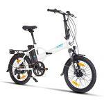 Fitifito FD20 Plus Elektrofahrrad Faltrad Klapprad E-Bike Pedelec, 36V 250W Heckmotor, 36V 15.6Ah 561W Samsung Cells Lithium-Ionen USB, 6061 Aluminium Rahmen Weiss