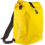 Gelb, 25L – Rohtar 3in1 Fahrradtasche – 18L/25L schwarz/gelb/rot – ideale Gepäcktasche fürs Fahrrad – wasserdicht & reflektierend – als Gepäckträgertasche, Umhängetasche & Rucksack einsetzbar