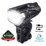 OUTERDO Fahrradlicht LED,Fahrradbeleuchtung LED/Fahrradlampe Set StVZO Zugelassen,Fahrradlampe USB Wiederaufladbar/mit 5 Batterien Wasserdicht,Fahrradleuchte Schwarz
