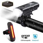 TopCrazy LED Fahrradlicht Set, Frontlicht und Rücklicht, wasserdichte Fahrradlampe Set Schwarz
