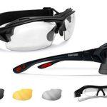 3 Brillengläser – AF399D Italy Glänzend Schwarz / Rot – Bertoni Sportbrille mit Sehstärke für Brillenträger mit 3 Antibeschlag UV Schutz Gläsern – mit Austauschbare Bügel oder Kopfband