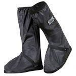 JIANKE Regenüberschuhe Fahrrad Wasserdicht Überschuhe Regen Schuhüberzieher Mehrweg Rutschfest Motorrad Regenschutz SchuheSchwarz-212,L