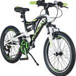 KRON ARES 4.0 Vollgefedertes Kinder Mountainbike 20 Zoll ab 6, 7, 8, 9 Jahre | 21 Gang Shimano Kettenschaltung mit V-Bremse | Kinderfahrrad 14 Zoll Rahmen Vollfederung | Schwarz Grün