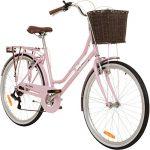 Galano 26 Zoll Cityrad Belgravia 6 Gang Damenfahrrad Mädchenrad Citybike mit Korb, Farbe:pink, Rahmengrösse:15 Zoll