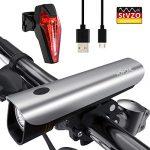 Hosome Fahrradlicht Set, StVZO Zugelassen USB Wiederaufladbar Fahrradbeleuchtung Set IPX5 Wasserdicht Frontlicht & Rücklichter, Fahrradlampe mit Samsung 2600mAh Li-ion Akku, 50 Lux Fahrradlampensets