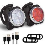 COOLAPA LED Fahrradlicht Set,USB Wiederaufladbare Fahrradleuchte, LED Weißlicht and Rotlicht Mit 4 blinkenden Modi, 5×4,5×3,5 cm Schwarz/Rot