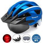 Victgoal Fahrradhelm MTB Mountainbike Helm mit abnehmbarem magnetischem Visier Abnehmbarer Sonnenschutzkappe und LED Rücklicht Radhelm Rennradhelm für Erwachsenen Herren Damen Metal Blue