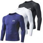 MEETYOO Kompressionsshirt Herren, Funktionsshirt Langarm Fitnessshirt Männer Sportshirt Atmungsaktiv Laufshirt für Laufen Jogging Sport Turnhalle