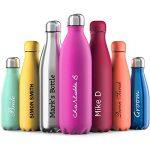 Rosa – Proworks Personalisiert Edelstahl Trinkflasche | 24 Std. Kalt und 12 Std. Heiß – 500ml – Vakuum Wasserflasche – Isolierflasche für Sport, Laufen, Fahrrad, Yoga, Wandern und Camping