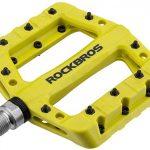 ROCKBROS Fahrradpedale Nylon Composite Flatpedale 9/16 Mountain Bike Pedale 3 Bearing rutschfest Wasserdicht Anti-Staub Gelb Grün