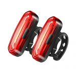 CELIFE Fahrrad Rücklicht, 2 PCS LED USB Aufladbar Fahrradrücklicht mit IP67 Wasserdicht, 6 Modus für Straßenfahrräder und Montage