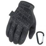 Mechanix WEAR ORIGINAL Einsatz-Handschuhe, atmungsaktiv & abriebfest + Gear-Karabiner, Original Glove in Schwarz, Coyote, Multicam/Größe S, M, L, XL XL, Schwarz/Covert
