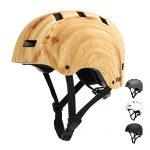 Vihir Erwachsene Fahrradhelm skaterhelm BMX fahradhelm Herren Damen Kinder Sport Helm für Männer & Frauen Schwarz Weiß Dunkelgrau S/M 52-58CM, Holzmaserung