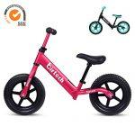 Birtech Laufrad Balance Fahrrad ab 1 2 3 4 Jahre 12 Zoll Kinderrad Lauffahrrad Sport Fahrrad mit Stahlrahmen, Verstellbarer Lenker & Sitz für Kinder Al Legierung Rosa